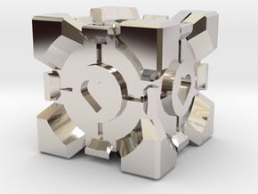 Companion Cube  in Rhodium Plated Brass