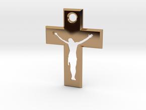 Crucifix Alfa 4x3cm in Polished Brass