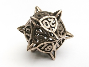 'Center Arc' dice, D20 MTG Spindown Life Counter in Polished Bronzed Silver Steel