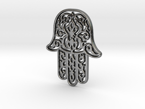 Hamsa Pendant in Fine Detail Polished Silver