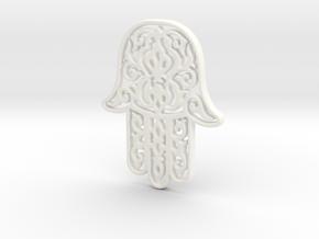 Hamsa Pendant in White Processed Versatile Plastic