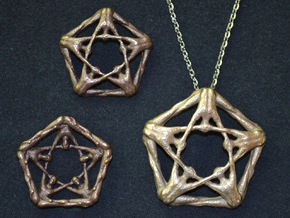 Large Pentaman Pendant in Polished Bronzed Silver Steel