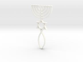 Messianic Seal Pendant in White Processed Versatile Plastic