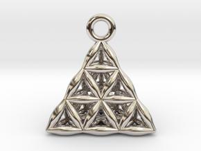 Flower Of Life Tetrahedron Pendant in Platinum