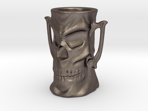 Skull Mug in Polished Bronzed Silver Steel