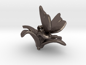 Butterfly And Lily Flower 1 Rock - L in Polished Bronzed Silver Steel