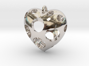 Heart Pendant #3 in Rhodium Plated Brass