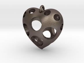 Heart Pendant #3 in Polished Bronzed Silver Steel