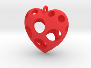 Heart Pendant #3 in Red Processed Versatile Plastic