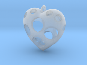 Heart Pendant #3 in Smooth Fine Detail Plastic