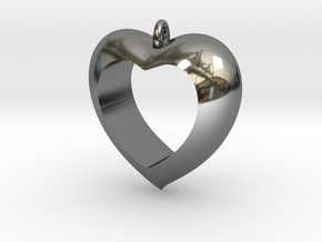 Heart Pendant #4 in Fine Detail Polished Silver