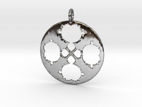Mandelbrot Clover Pendant in Fine Detail Polished Silver