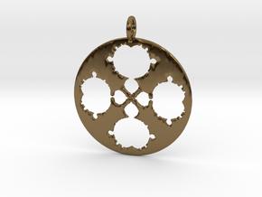 Mandelbrot Clover Pendant in Polished Bronze