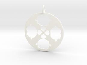 Mandelbrot Clover Pendant in White Processed Versatile Plastic