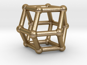 0293 Rhombic Dodecahedron V&E (a=1cm) #002 in Polished Gold Steel