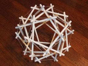 Tensegrity Icosidodedahedron 1 in White Natural Versatile Plastic