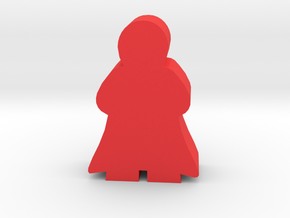 Caped Hero, Leader Meeple in Red Processed Versatile Plastic