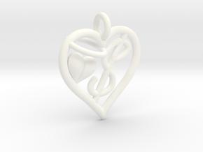 HEART $ in White Processed Versatile Plastic