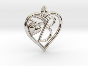 HEART B in Rhodium Plated Brass