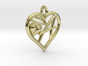 HEART A in 18k Gold Plated Brass