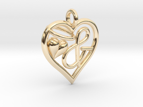 HEART & in 14k Gold Plated Brass
