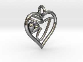 HEART J in Fine Detail Polished Silver