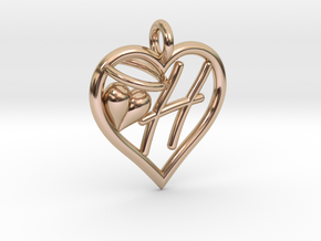 HEART H in 14k Rose Gold Plated Brass