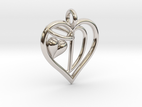 HEART D in Rhodium Plated Brass