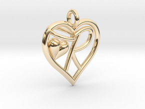 HEART R in 14k Gold Plated Brass