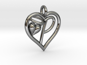 HEART P in Fine Detail Polished Silver