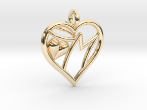 HEART M in 14K Yellow Gold