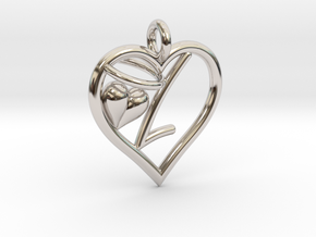 HEART L in Rhodium Plated Brass