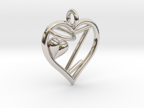 HEART Z in Rhodium Plated Brass