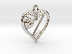 HEART Z in Rhodium Plated Brass