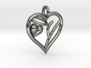 HEART Y in Fine Detail Polished Silver