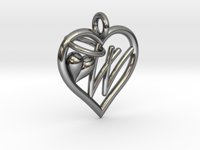HEART W in Fine Detail Polished Silver