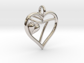 HEART T in Rhodium Plated Brass