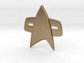 Star Trek Voyager/Deep Space Nine Combadge in Polished Gold Steel