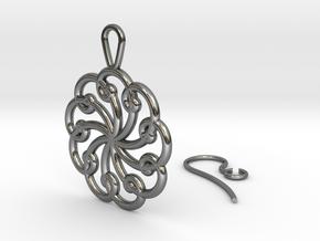 Fibonacci Earring 9 in Fine Detail Polished Silver
