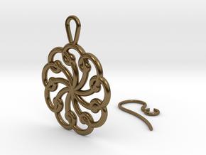 Fibonacci Earring 9 in Polished Bronze