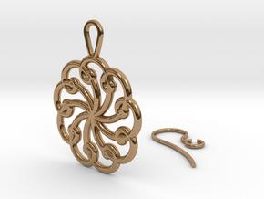 Fibonacci Earring 9 in Polished Brass