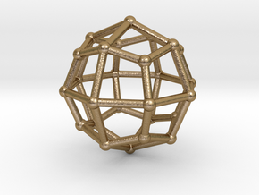 0314 Deltoidal Icositetrahedron V&E (a=1cm) #002 in Polished Gold Steel