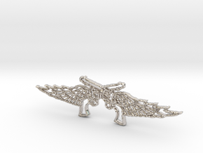 Pistol Wings Pendant in Rhodium Plated Brass