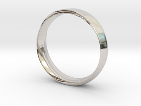 Mobius Ring with Groove Size US 9.75 in Rhodium Plated Brass