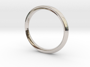 Mobius Ring with Groove Size US 3.75 in Rhodium Plated Brass