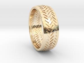 Herringbone Ring Size 16 in 14K Yellow Gold