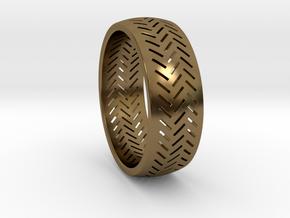 Herringbone Ring Size 16 in Polished Bronze