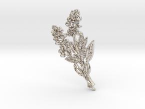 Texas Bluebonnet  Pendant in Rhodium Plated Brass