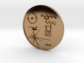Voyager I Golden Record Medal in Polished Brass