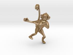 3D-Monkeys 003 in Matte Gold Steel